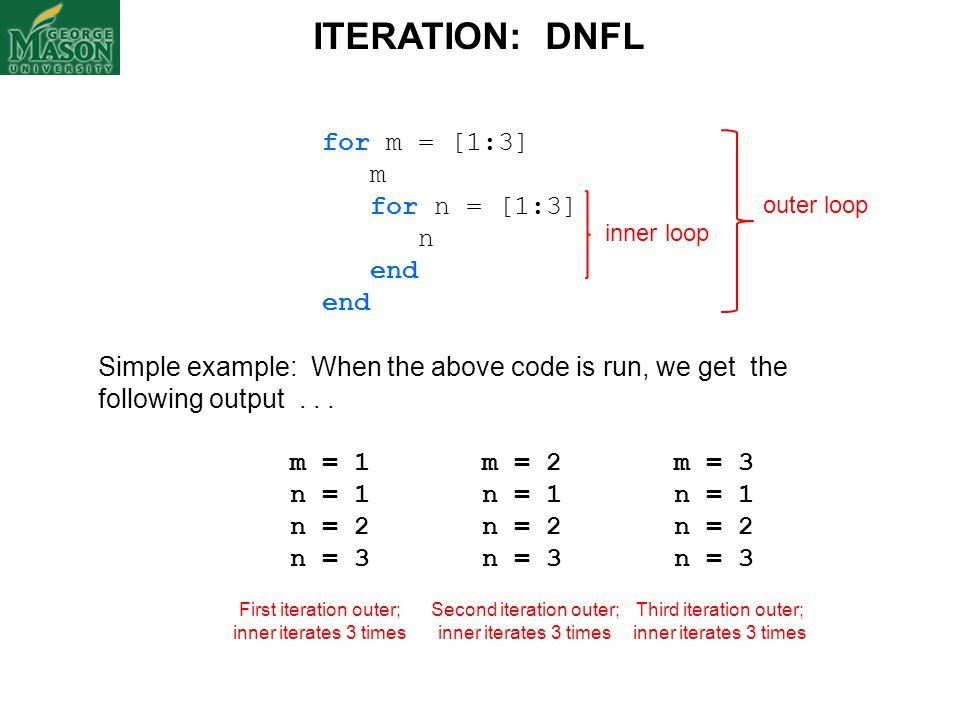 ITERATION: DNFL for m = [1:3] m for n = [1:3] n end